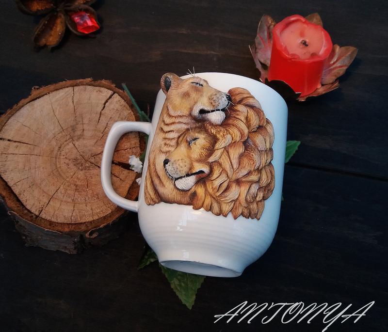 Влюбленные львы чашка с декором