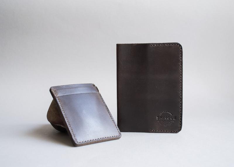 Обкладинка для паспорта + кардхолдер комплект темно-коричневий