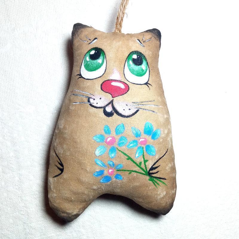 Кот кофейный с цветами. Подарок ко Дню Святого Валентина и на 8 марта