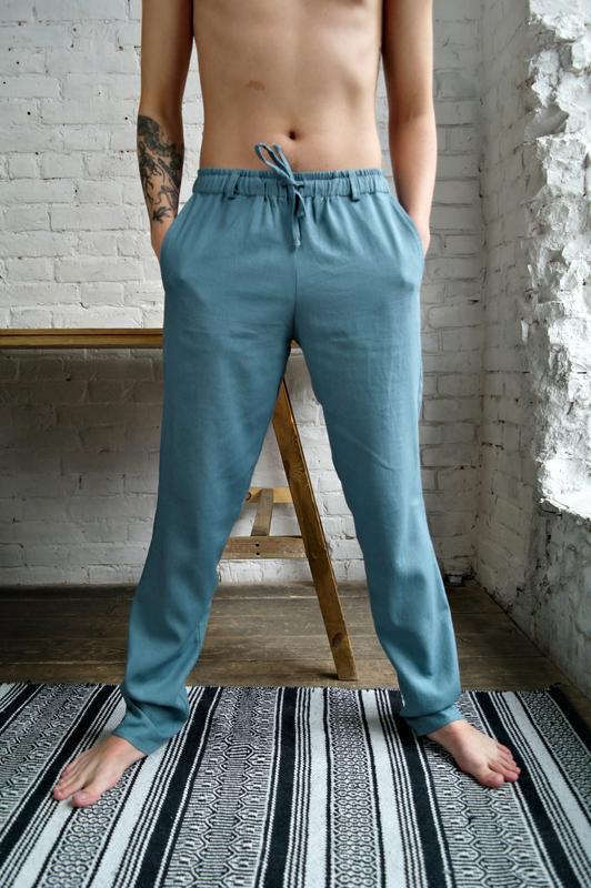 Мужские летние брюки из натурального льна