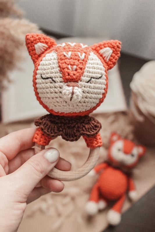 Подарочный набор для малышей, новорожденных, вязаная игрушка+погремушка, лисичка