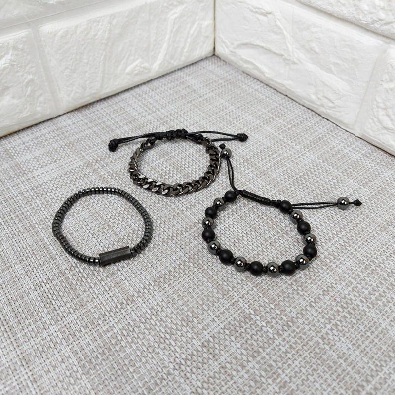 Панк комплект мужских браслетов