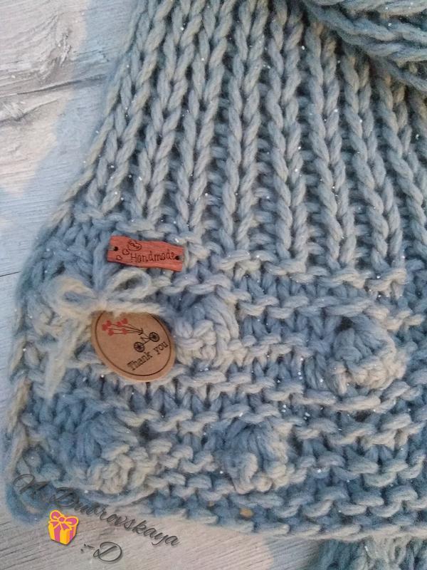 Вязанный, серый шарф с матовой полушерсти крупной вязки, handmade