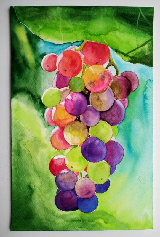 Акварель Яркий виноград