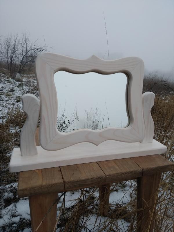 Настольные зеркала ручной работы из дерева.