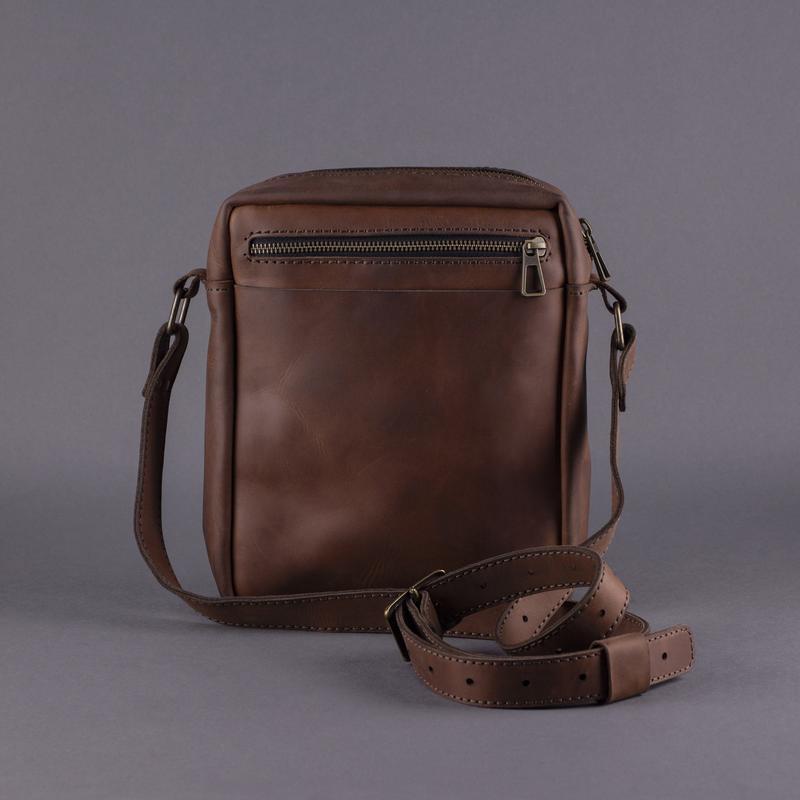 Чоловіча шкіряна сумка - месенджер (через плече). Вічна гарантія, ручна робота, натуральна шкіра.