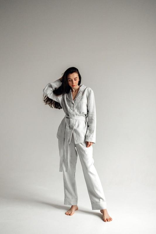 Льняна пижама женская, льняной костюм, костюм из льна, пижама из льна, серая пижама, серый костюм