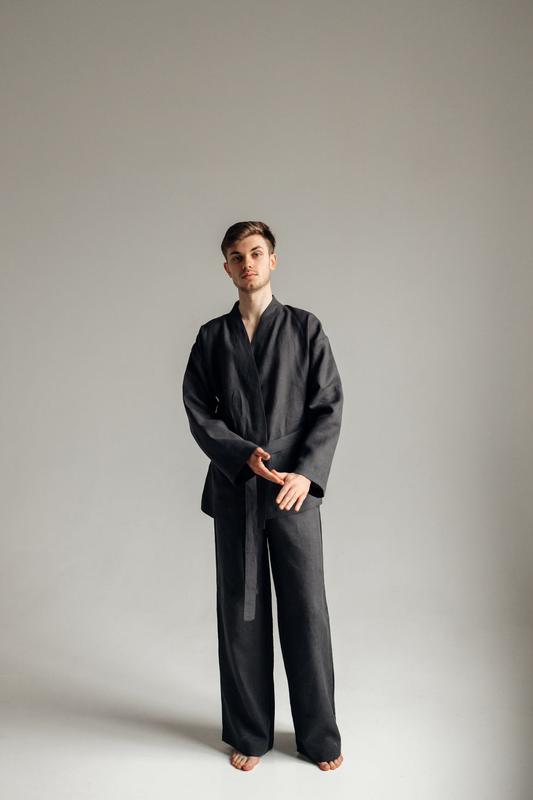 Костюм-кимоно из льна, льняной костюм, костюм для дома и отдыха