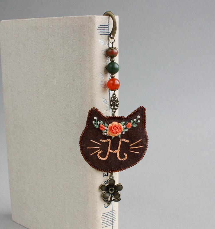 Оригінальна закладка для книг Металева закладка іменний Подарунок любителю котиків