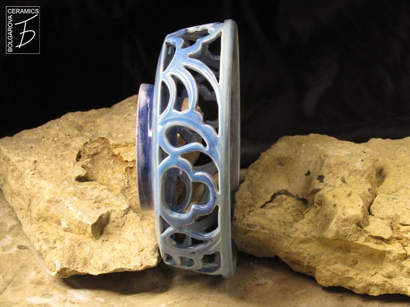 Вазочка для конфет керамическая ажурная с восточным орнаментом