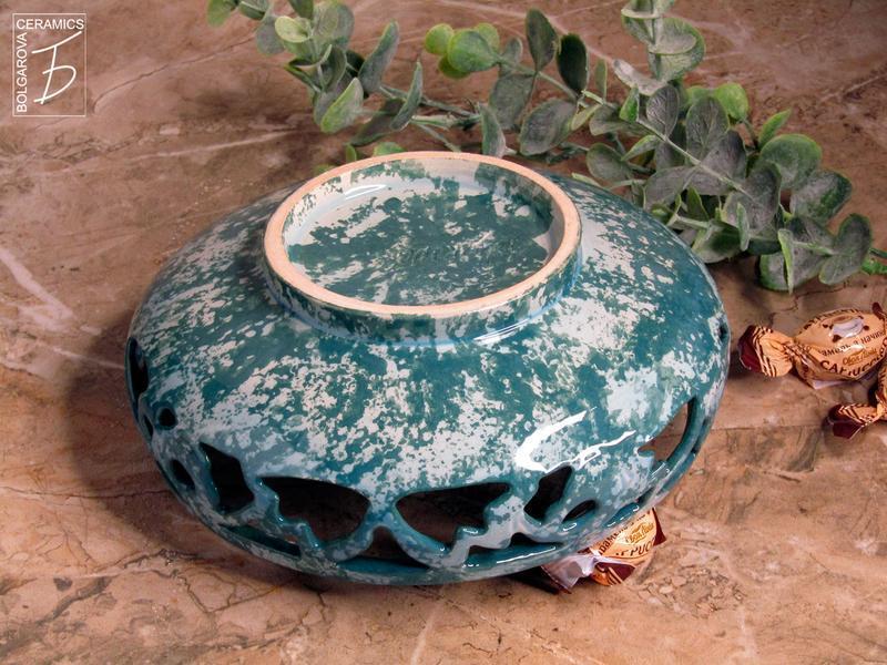 Вазочка для конфет керамическая ажурная