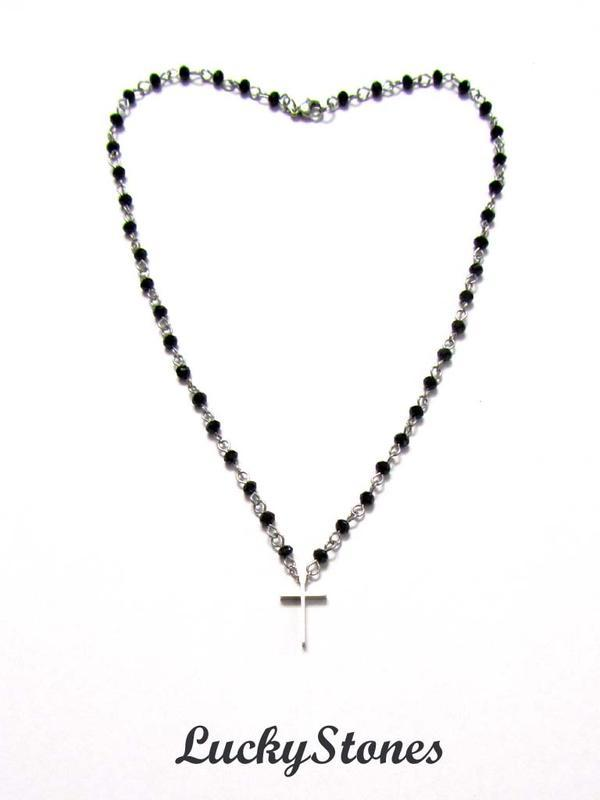 Женские бусы, цепочка с крестом фурнитура из нержавеющей стали.