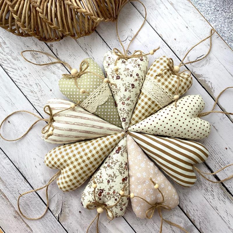 Набор текстильных сердец пасхальный декор