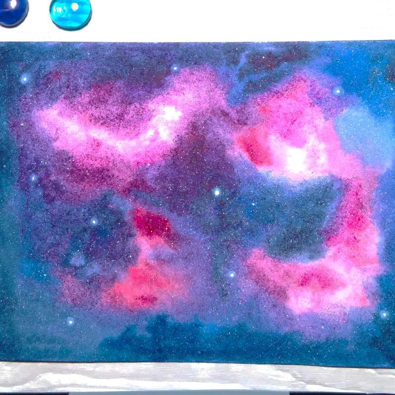Акварельная картина Розовые туманности в далеком космосе.