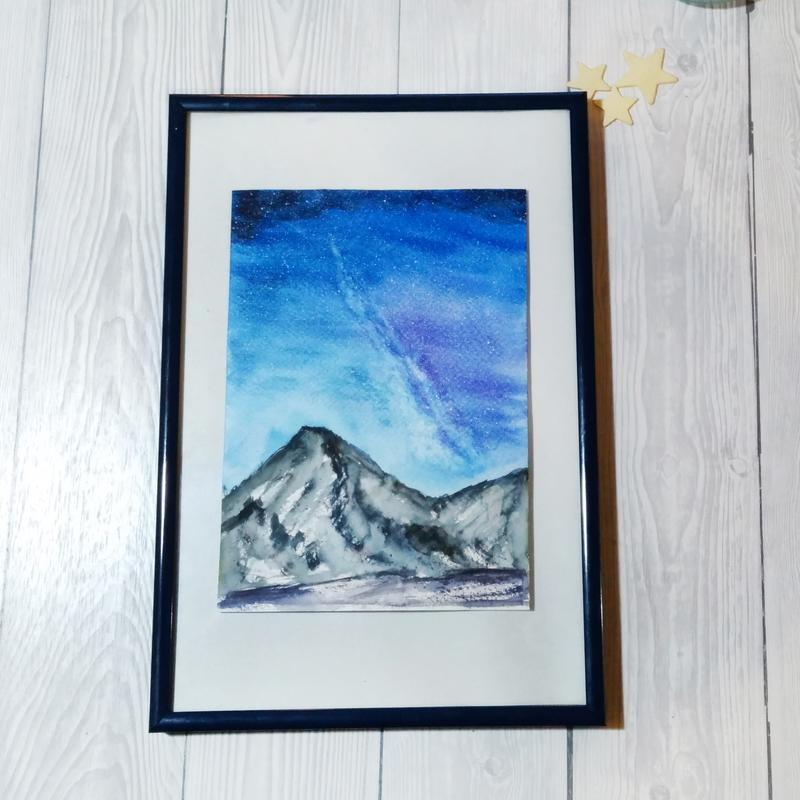 Акварельная картина Звездные тени в снегу.