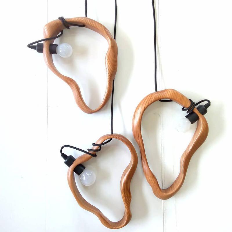 Деревянные подвесные светильники кольца. Дизайнерский светильник из дуба. Освещение