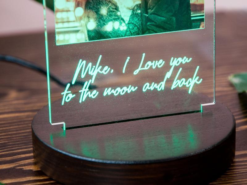 Фото светильник 3D ночник, 15 цветов + пульт, акрил, оригинальный подарок для пары