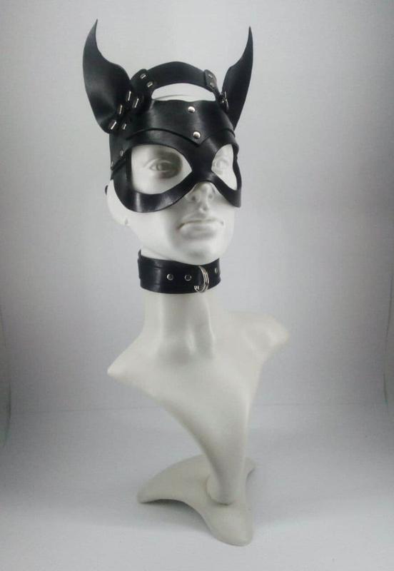 Кожаная маска (кошки ,зайка ,Микки демоница),БДСМ
