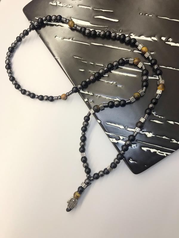 Мужское ожерелье: шунгит,тигровый глаз,гематит, ладошка( хамса)