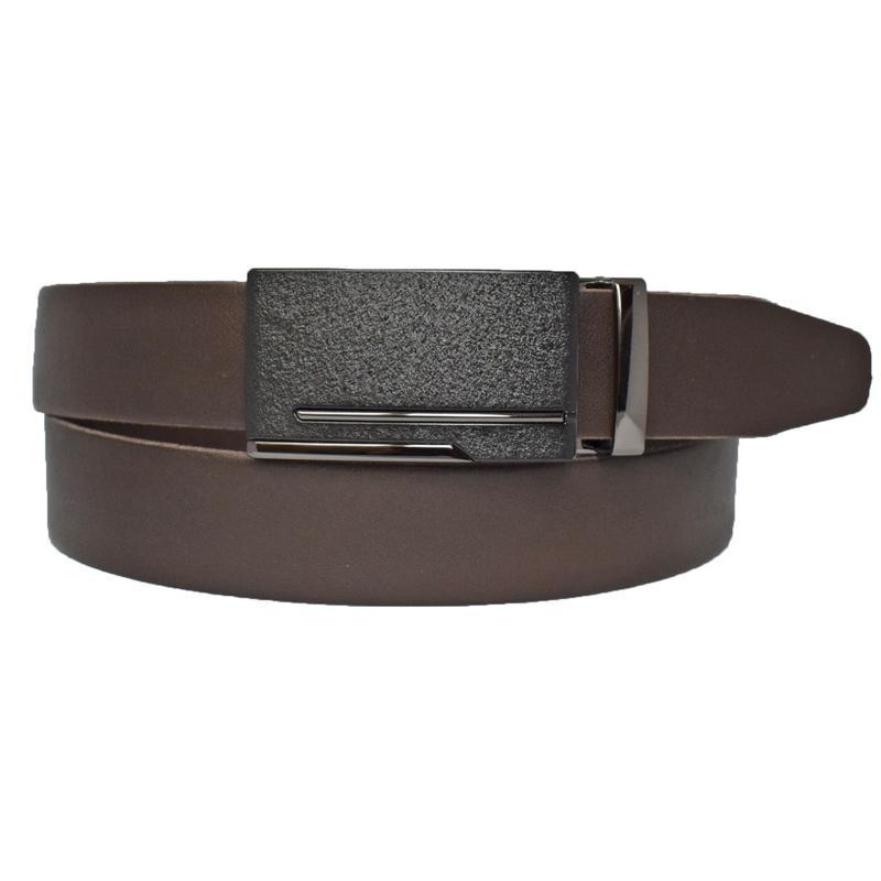 Мужской коричневый кожаный ремень с пряжкой автомат Paramount2