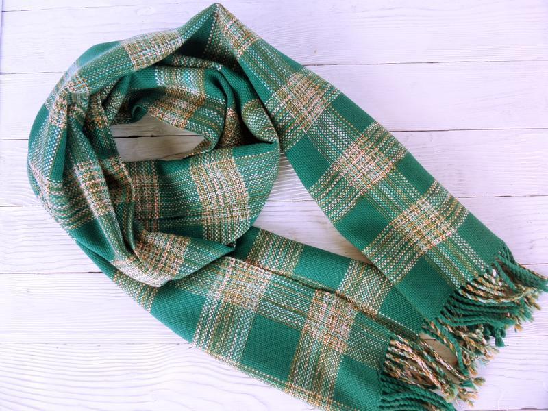 Тканый шарф Бильярдный зеленый мериносовая/ручное ткачество