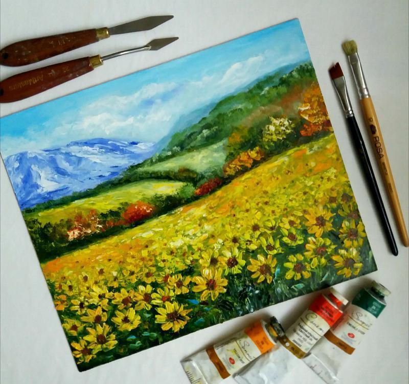 Картина маслом пейзаж с подсолнухами