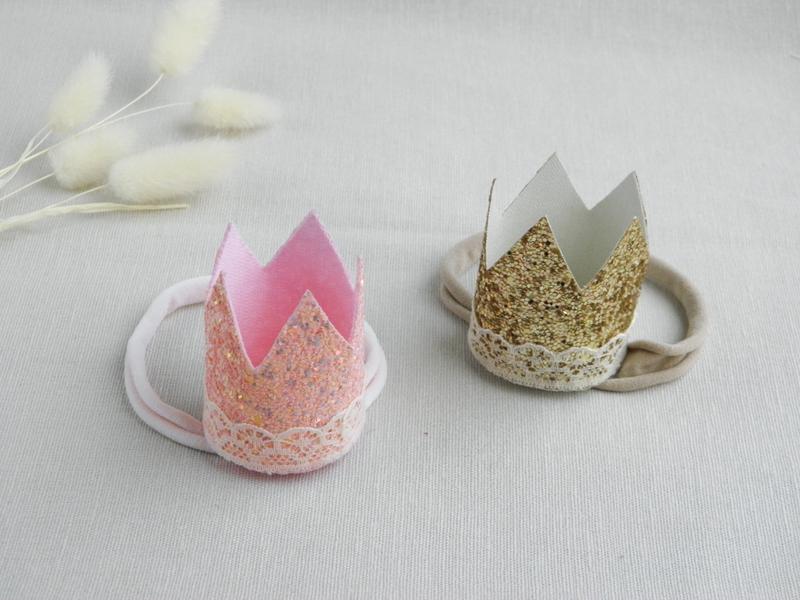 Повязка с розовой и золотой короной для девочки / Повязка для малышки