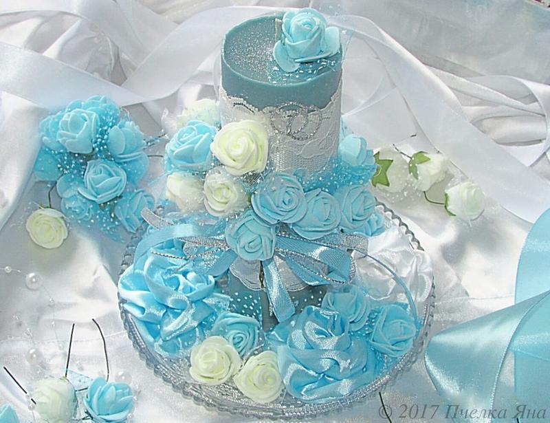 Голубая свадебная свеча с ароматом жасмина