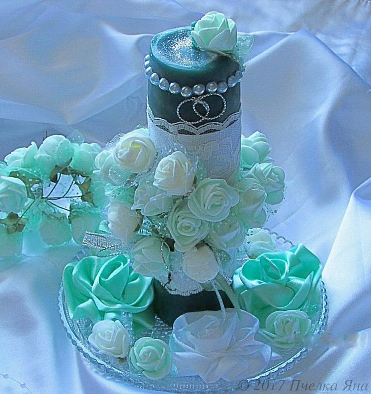 Бирюзовая свадебная свеча с ароматом жасмина
