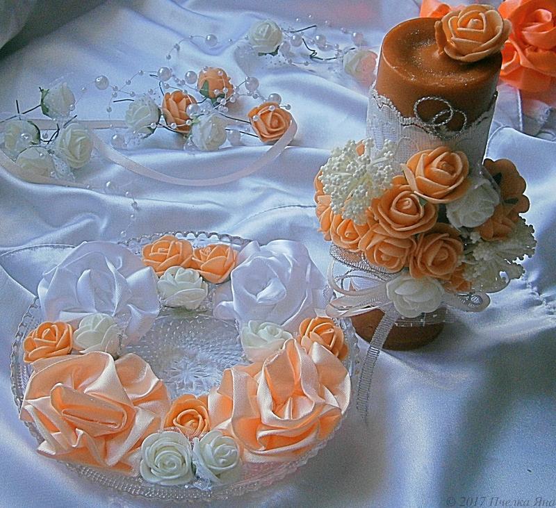Персиковая свадебная свеча с ароматом ванили
