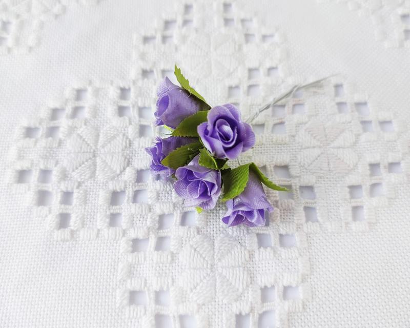 Бутоны роз тканевые мини фиолетовые Ø 15 мм. 5 шт