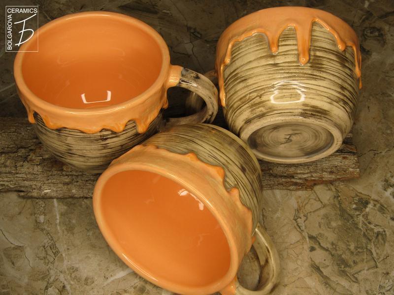 Чашка оранжевая с потеками Апельсиновый джем