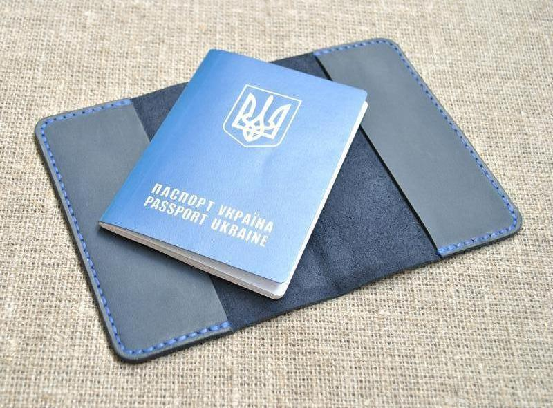 Классическая обложка для паспорта P01-600+blue