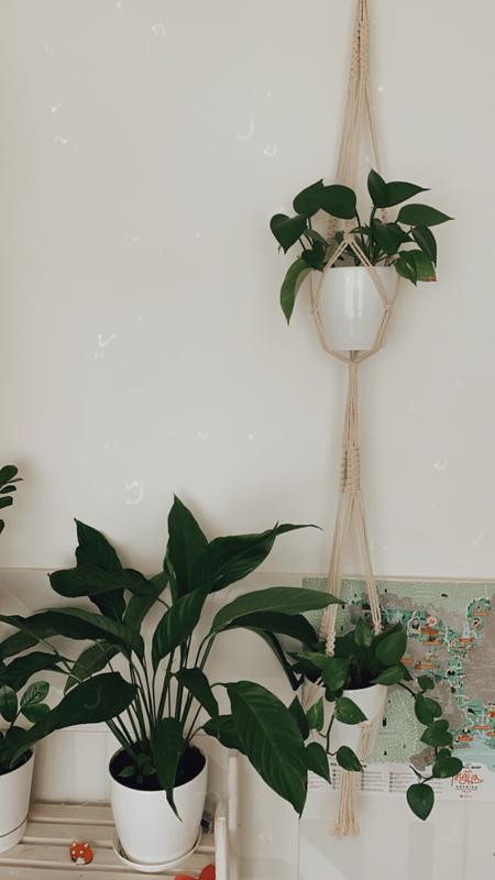 Макраме кашпо для 2 вазонов Подвес для 2 цветочных горшков Декор для растений Настенное кашпо