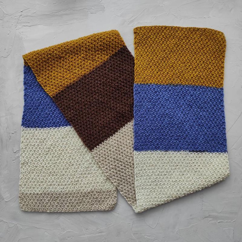 Шарф вязаный весенний для девушки, парня, унисекс, шарф синий желтый коричневый подарок В НАЛИЧИИ