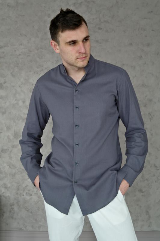 Мужская рубашка из 100% льна с закатывающимися рукавами