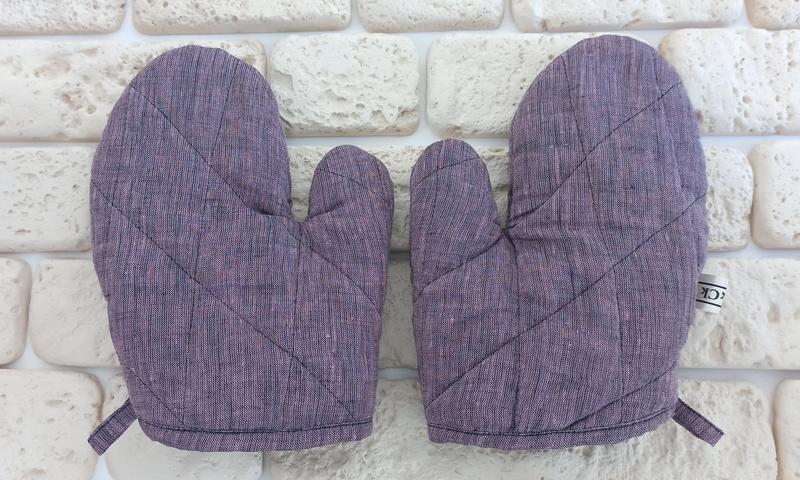 Прихватки для кухни , кухонні рукавиці з льону, кухонна рукавиця,набір прихваток