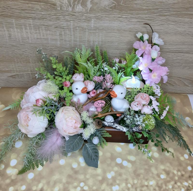 Пасхальная весенняя композиция подсвечник декор великоня весняна композмція підсвічник