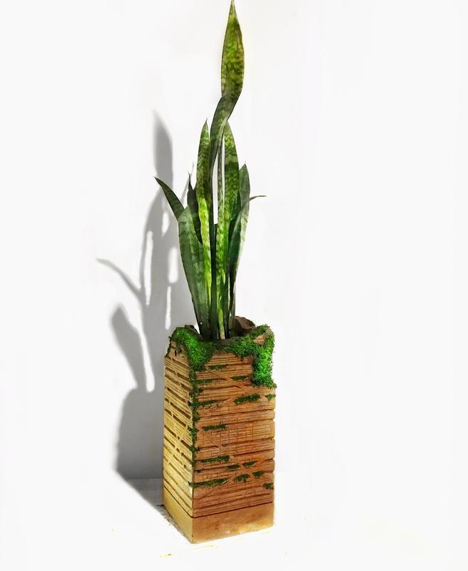 """Кашпо , вазон горшок цветочный со мхом """"Ruin"""""""