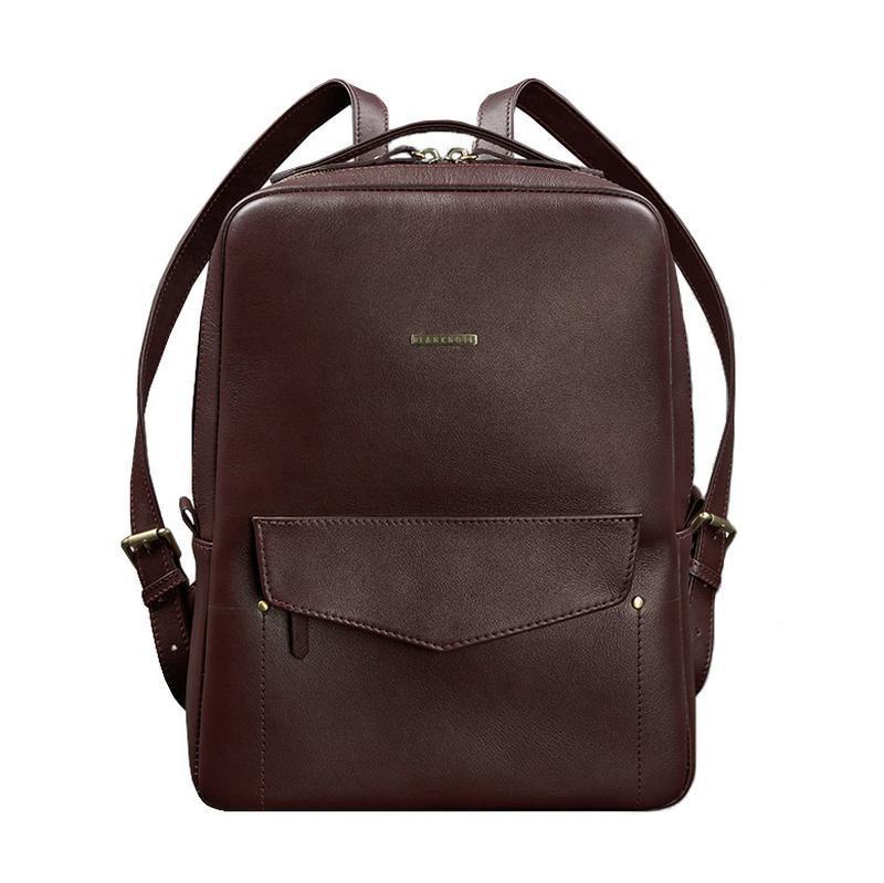 Кожаный городской женский рюкзак на молнии Cooper бордовый - BN-BAG-19-vin