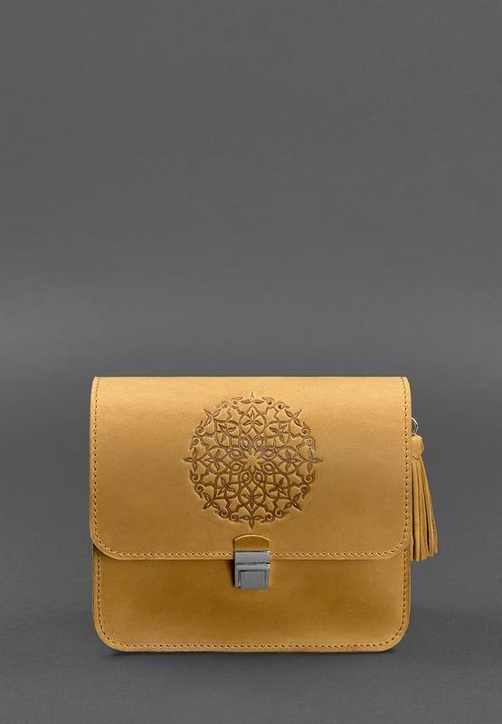 Кожаная женская бохо-сумка Лилу желтая Crazy Horse - BN-BAG-3-ylw-kr-man