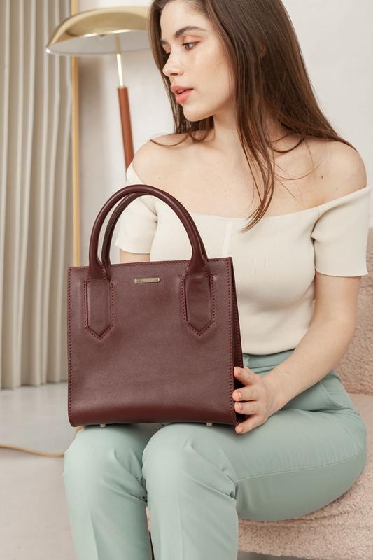 Кожаная женская сумка-кроссбоди бордовая - BN-BAG-28-vin