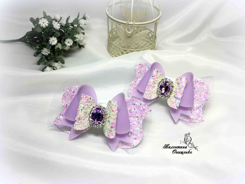 Бантики сиренево-розовые / бантики из экокожи