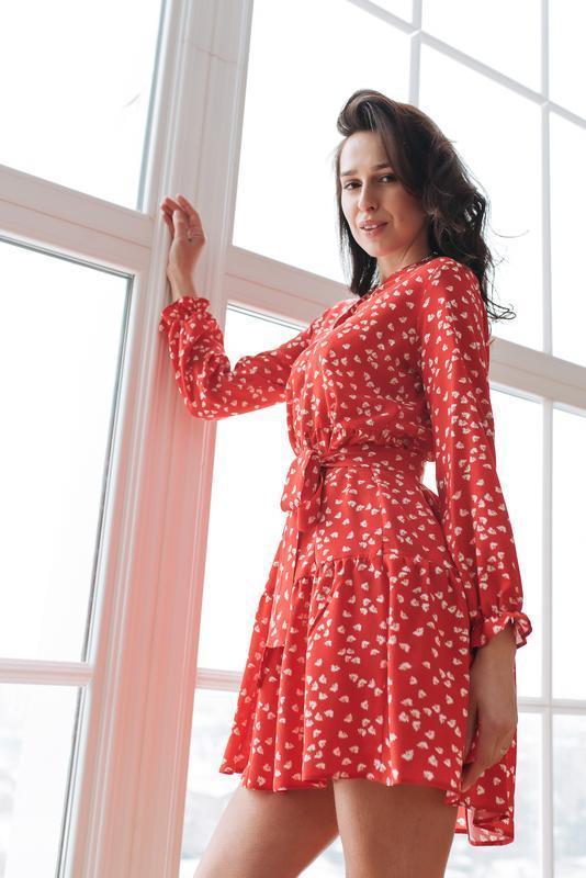 Красное платье мини из штапеля