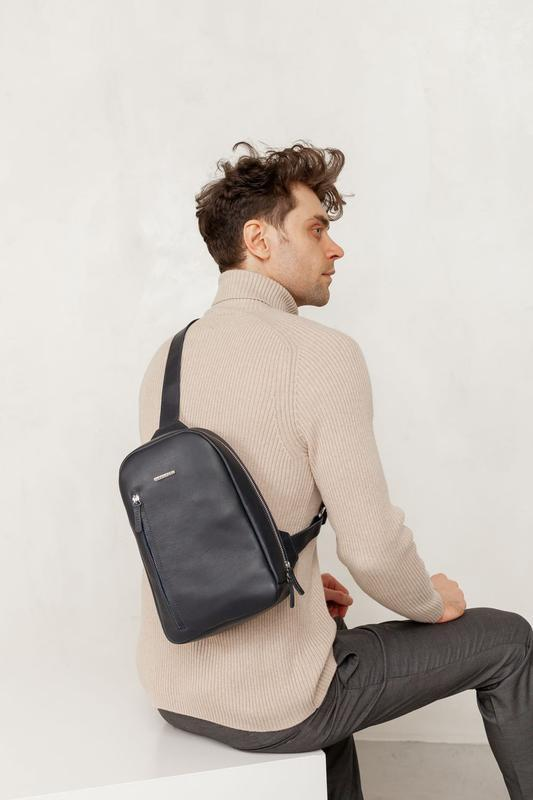 Темно-синий кожаный мужской рюкзак на одно плечо Chest Bag BN-BAG-42-navy-blue