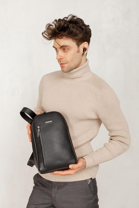 Черный кожаный мужской рюкзак на одно плечо Chest Bag BN-BAG-42-g
