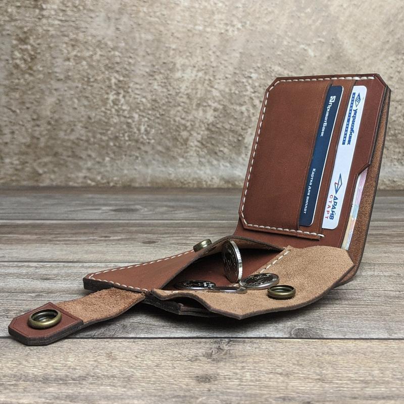 Чоловічий шкіряний гаманець, портмоне з гравіюванням