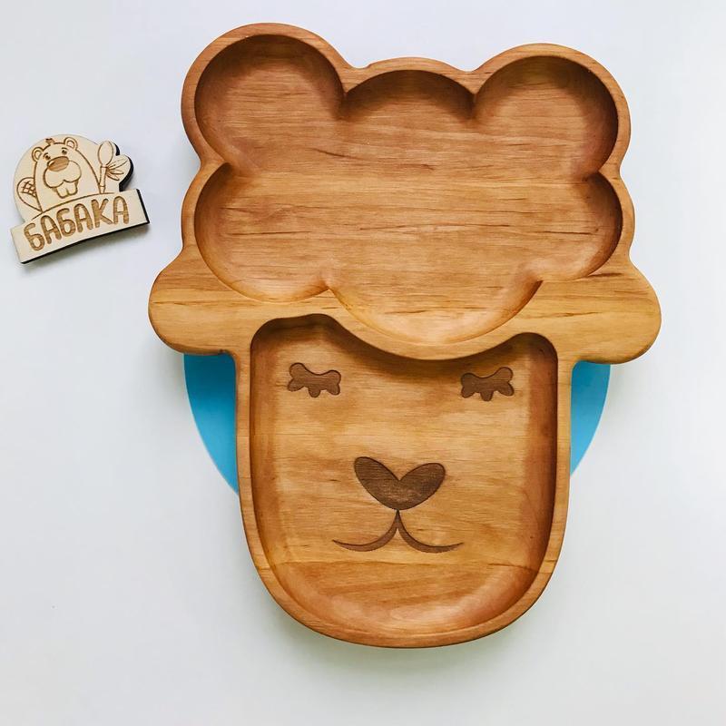 """Детская секционная тарелка """"Ягнятко"""" на присоске из дерева"""