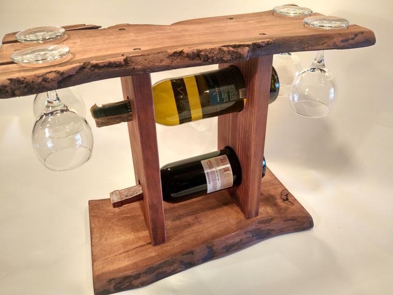 Деревянная полка для вина и 4х бокалов №7