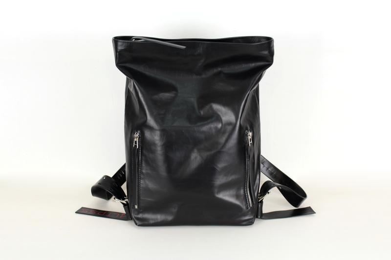Шкіряний рюкзак Tuareg Black, чорний міський рюкзак в мінімалістичному стилі з кишенею для ноутбука